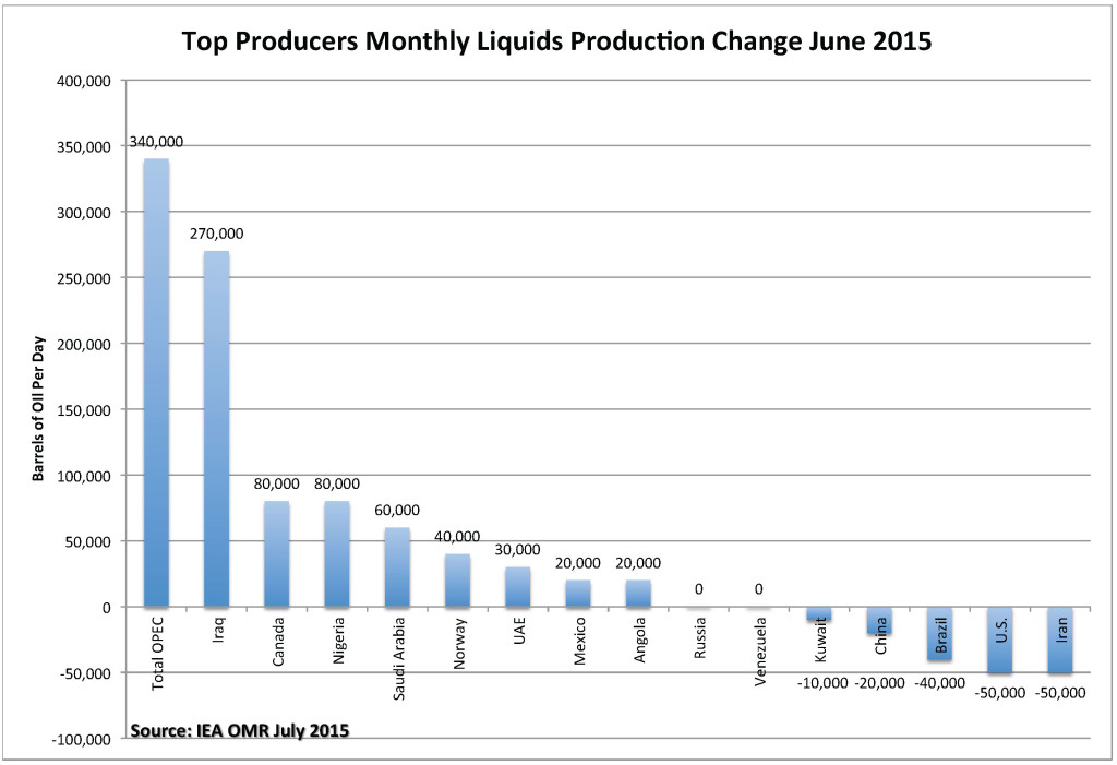 Top Producers Monthly Liquids Production Change June 2015